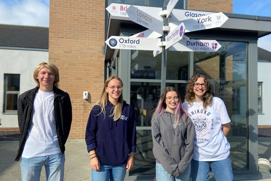 Birkenhead Sixth Form College students (from left) Matt Davies, Jess Griffiths, Amy Bailey and Claudia Hutuleac